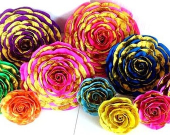 giant paper flowers large Mexican gold bright backdrop party decor Bollywood Cinco Mayo Moroccan Arabian Fiesta wedding nursery baby shower