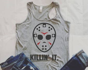 Jason Tank Top, Friday the 13th, Freddy Vs Jason, Funny Tank Top, Halloween shirt, Halloween Tank, Horror Movies