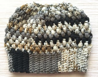 Black Messy bun beanie crochet ponytail hat gift for her adult crochet hat Claire bun beanie