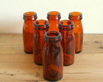 Vintage bottles brown amber glass.Milk cream bottles.Centerpiece bottles Collection.Glass vase.Home decor.Bathroom decor bottles.Table decor