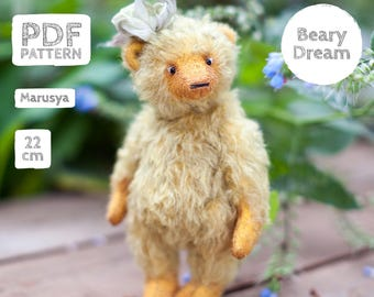 Artist Mohair Teddy Bear pattern, teddy bear pattern, teddy pattern, stuffed toy pattern, soft toy pattern, 22 cm, Marusya