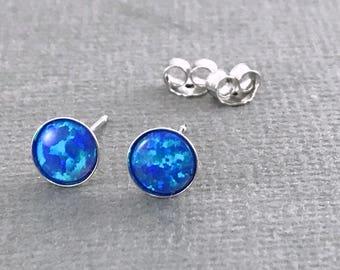 Sterling silver blue Opal studs, October birthstone, Minimalist earrings, Blue Opal earrings, Opal stud earrings, Silver post earrings