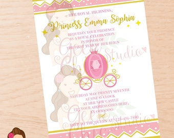 Princess, Princess invitation, Princess invite, Princess birthday invitation, Princess first year, Pink & Gold invitation, Princess party.