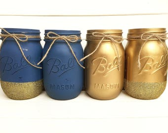 Four Navy Blue and Gold Painted Mason Jars - Shabby Chic Rustic Decor Centerpieces Flower Vases Distressed Nursery Baby Boy Shower