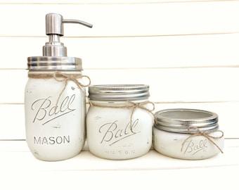 Three Piece Bathroom Set - Mason Jars Distressed Painted Kitchen Bathroom Soap Dispenser Sink Home Decor Shabby Chic Rustic Ivory White