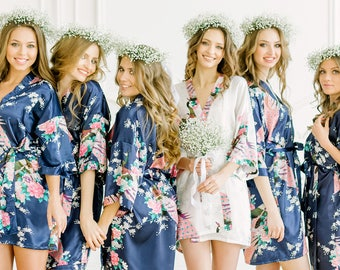 Mix&Match BRIDESMAID ROBES - Set of Floral Kimono robes - Set of Bridesmaid robes - Bridesmaid gift - Dressing gown - Bridal party robes