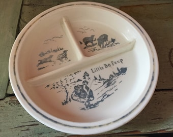 Vintage Little Bo Peep Fire King Child's Divided Food Dish