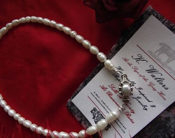 Item N-0011P - Single Strand Pearl Necklace with Sterling Silver Pearl Clasp