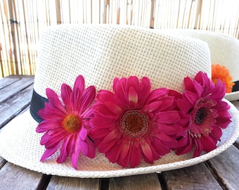Pink floral shaped and inspired Panama Hat for summer