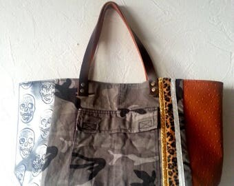 Camouflage, faux silver and ostrich tote bag