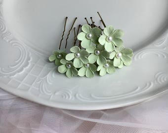 Hairpins with flowers from clay Decoclay flowers with beads Handmade flowers in the hair