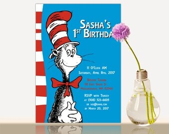 The Cat in the hat Birthday Invitation - Dr.Seuss Birthday Card Invitation- Birthday party invite - cat in the hat invitation