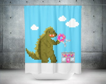 Nerd Shower Curtain | Geek Shower Curtain | Retro Shower Curtain | Retro  Bathroom Decor |