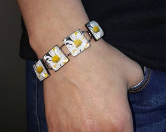 Daisy Bracelet in Gunmetal Square Setting with  Square Glass Cabochon Daisy Jewelry Flower Jewelry Photo Jewelry Photo Bracelet Nature Photo