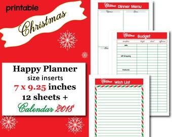 Christmas Planner Christmas Printable 2018 Calendar