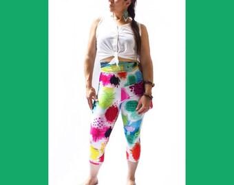 LEGGING BRODERIE GÉANTE-impression sublimation-éco-polyester-tableaux sur tissus -broderies à la main-perlage-tissu à maillot de bain
