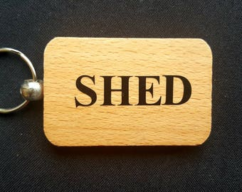 Wooden Keyring Key ring - SHED - Birthday Gifts Father's day - New Dad Wooden gifts
