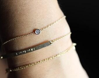 14k gold bracelet diamond bracelet Diamond solitaire bracelet Solitaire diamond bracelet Single diamond bracelet 1/10 carat diamond