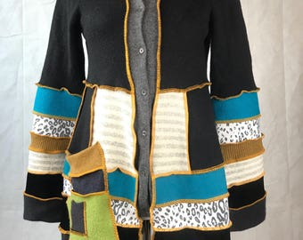 Black, teal and gold button up katwise inspired sweater