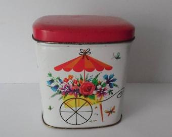 Vintage Tea CaddyTin. Tea Tin. Storage tin. Retro Tin