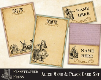 Alice In Wonderland Menu Card Drink Card Tent Card Place Card Set Party Printables Decoration Clipart Graphics Digital Download