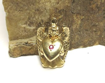 guardian angel charm by designer dankner 14k yellow gold with ruby in heart