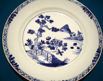 A 18th century, Chinese, Qianlong period, Qing dynasty, blue and white plate.