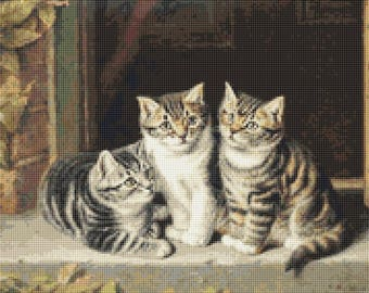 Three Little Kittens Counted Cross Stitch Pattern / Chart, Instant Digital Download  (AP258)