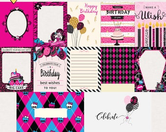 Monster High Birthday Celebration - Journal Cards - Instant Download - Printable journaling cards