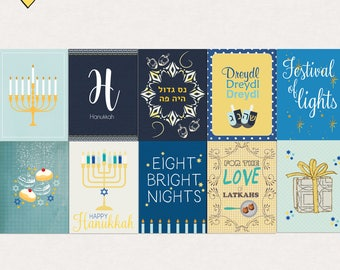Hanukkah Festival Of Lights Journal Cards Instant Download Printable journaling cards for Project Life