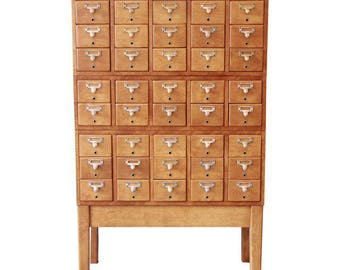 Mid-Century Restored 40-Drawer Library Card Catalog