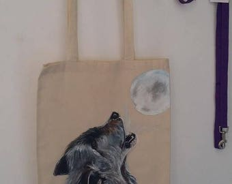 Handpainted Wolf Tote Bag, Wolf Howling, Moon, wild animal, Unique Gift Idea