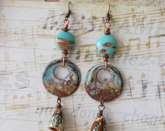 Dangle Earrings, Boho Bohemian Turquoise Hippie Ethnic Southwest Artisan Native American Rustic, Enamel Copper Earrings, Hoop Earrings