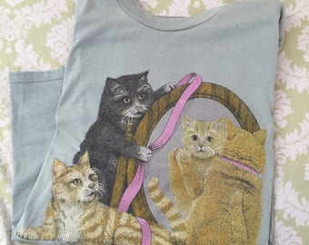 Vintage 90s kitty cats in a basket shirt