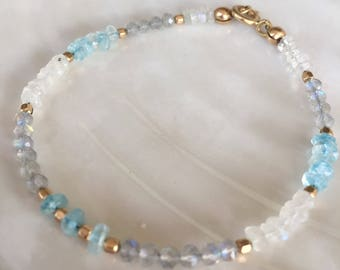 Dainty Rainbow Moonstone, Labradorite, and Apatite Beaded Stacking Bracelet