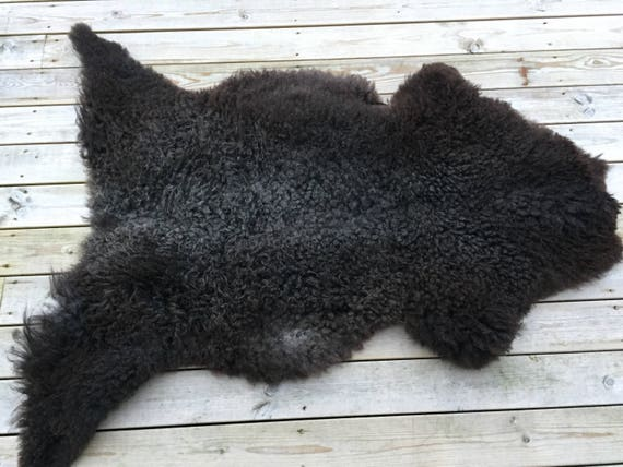 Supersoft sheepskin rug large beautiful Norwegian pelt sheep curly grey black throw 17175