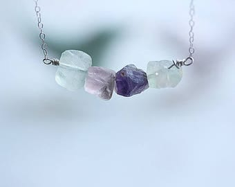 Natural Raw Rainbow Fluorite Necklace, Rough Stone Necklace, Gemstone Bar Necklace, Crystal Bar,  Layering Necklace, Gift for Girlfriend