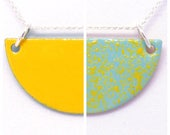 """Double-sided half moon necklace - 18"""" Sterling Silver Chain - Geometric / Semicircle / Shape / Contemporary / Abstract / Modern / Gift"""