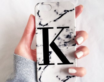 White Marble single initial phone case - iPhone 7, iPhone 7 PLUS, iPhone 8 Plus Samsung galaxy S5 S6 S7, marbled alphabet case, Samsung S8