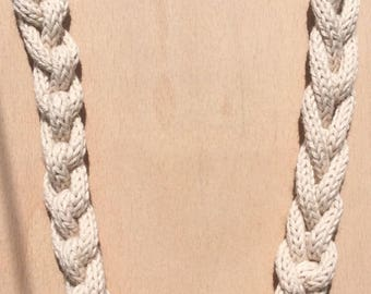 Natural cotton french knitted tube necklace