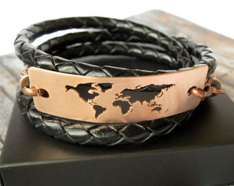 World Map Bracelet / Globe Bracelet / Copper World Bracelet / Travel Gift