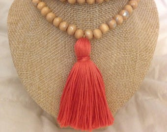 CORAL Tassel Necklace Strung on Light Brown Wooden Beads