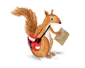 Squirrel Mailman - A4 Giclée Print