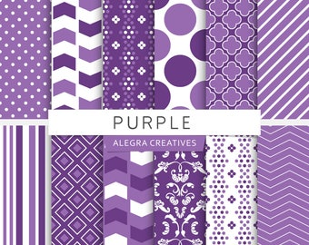 Purple digital paper, damask, polka dot, chevron, stripes, purple shades, violet, patterns, scrapbook papers (Instant Download)