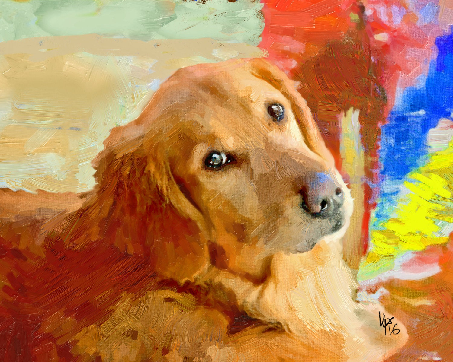 Dog painting portraits dog paintings from photos pet painting for Dog painting artist