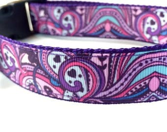 Purple Swirl Dog Collar, Leash or Step In Dog Harness with Personalized Metal Buckle Option
