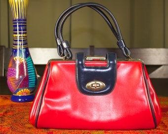 Red And Black 1960's Top Handle Kelly Handbag