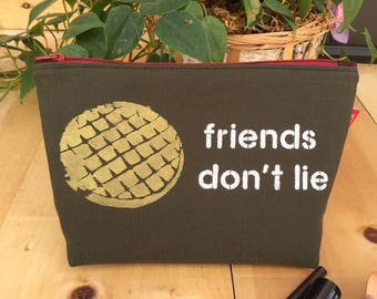 Stranger Things 'Friends Don't Lie' Flat Bottom Pencil Case Zipper Pouch Makeup Bag