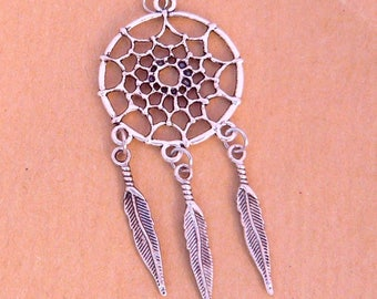 1 pendant with 60mm silver color dream catcher feathers night dream catcher