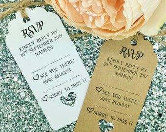 Wedding RSVP / Song Request Card Gift Tag, Personalised
